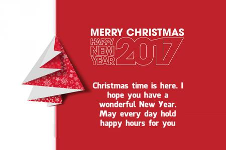 Card Merry Christmas and New  Year 2017