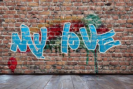 Write graffiti letters on the wall art
