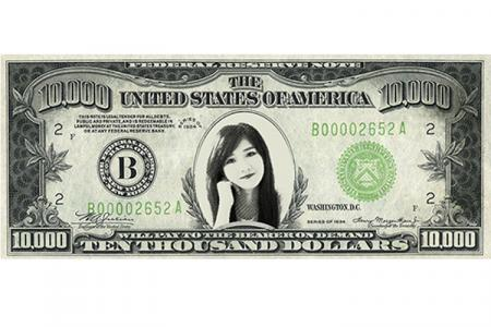 Print photo on the dollar bill