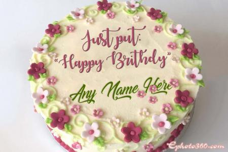 Write Name On Flower Birthday Cake Pics
