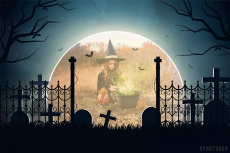 Halloween night moon photo frame