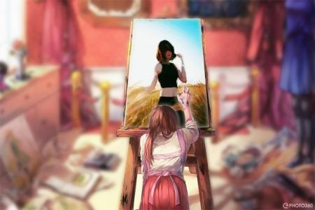 Anime water color photo frame