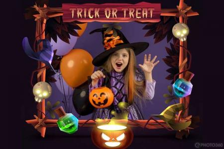 Trick Or Treat Picture Frame Halloween Maker Online
