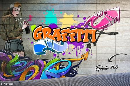 Cute girl painting graffiti text effect