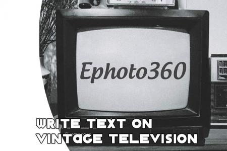 Write text on vintage television online